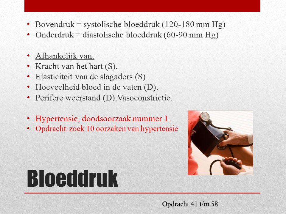 Bloeddruk Bovendruk = systolische bloeddruk (120-180 mm Hg)