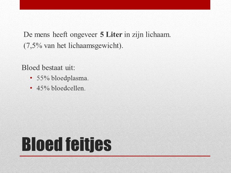 Bloed feitjes De mens heeft ongeveer 5 Liter in zijn lichaam.