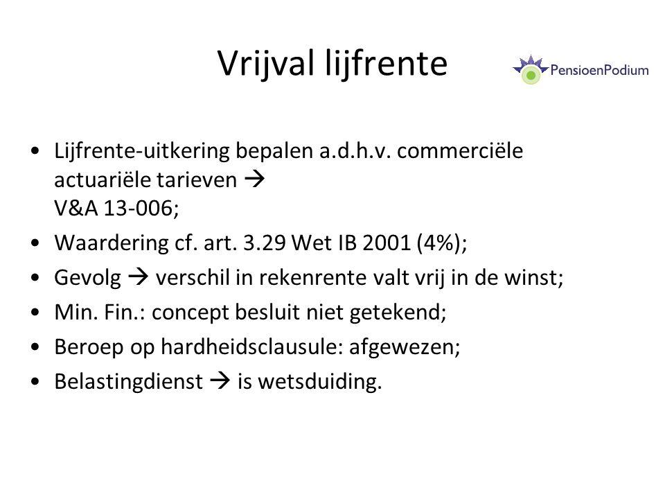 Vrijval lijfrente Lijfrente-uitkering bepalen a.d.h.v. commerciële actuariële tarieven  V&A 13-006;