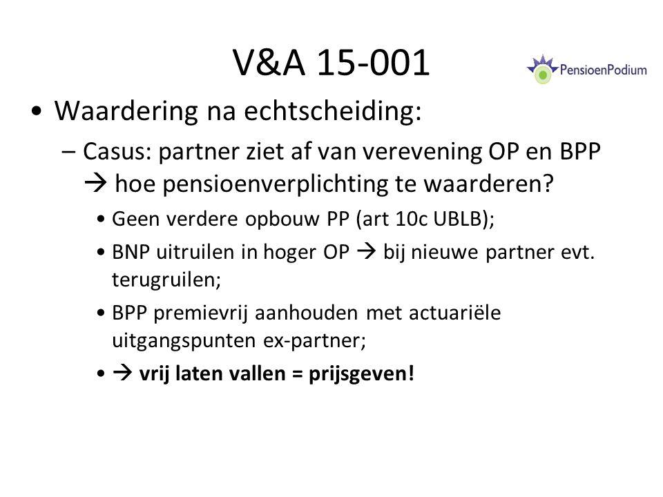 V&A 15-001 Waardering na echtscheiding:
