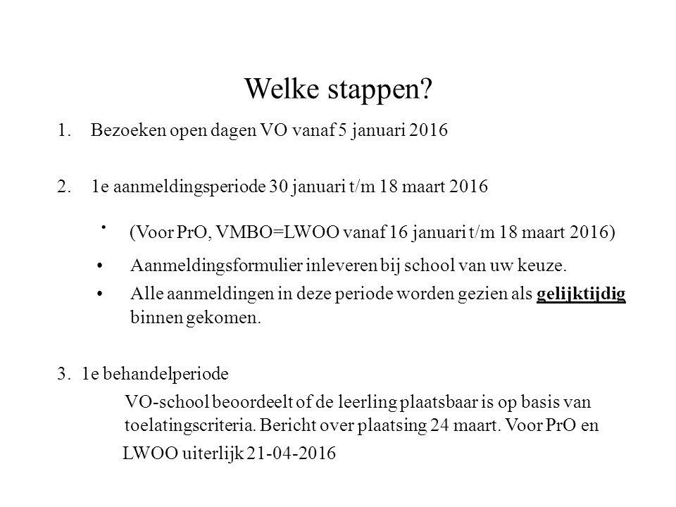 Welke stappen Bezoeken open dagen VO vanaf 5 januari 2016