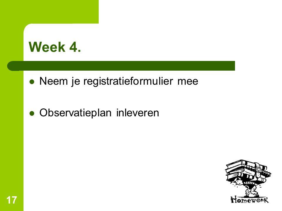 Week 4. Neem je registratieformulier mee Observatieplan inleveren