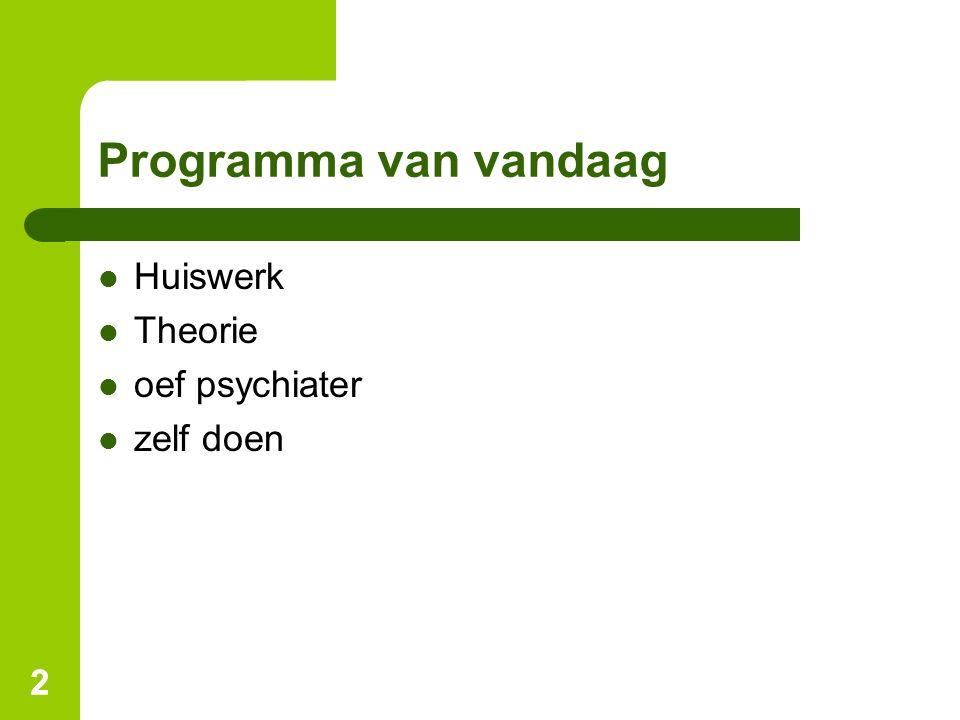 Programma van vandaag Huiswerk Theorie oef psychiater zelf doen 2