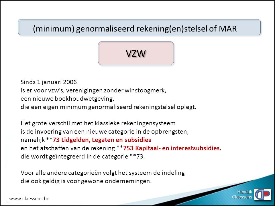 VZW (minimum) genormaliseerd rekening(en)stelsel of MAR