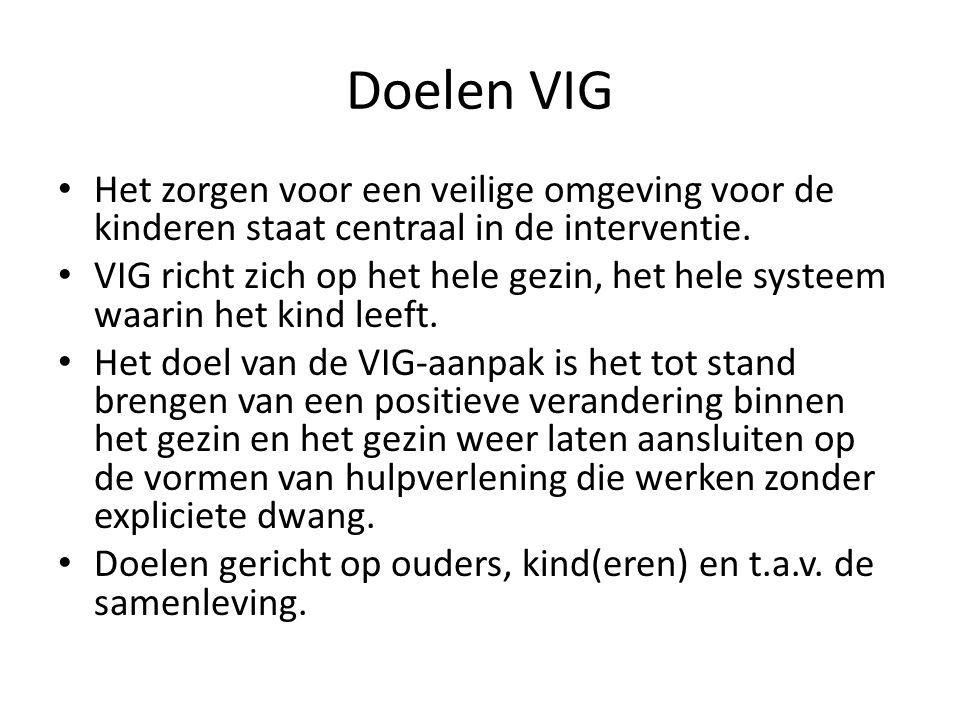 Doelen VIG Het zorgen voor een veilige omgeving voor de kinderen staat centraal in de interventie.