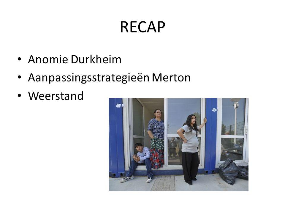RECAP Anomie Durkheim Aanpassingsstrategieën Merton Weerstand