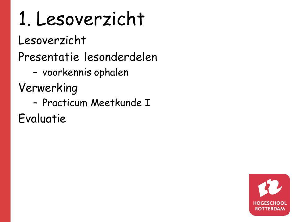 1. Lesoverzicht Lesoverzicht Presentatie lesonderdelen Verwerking