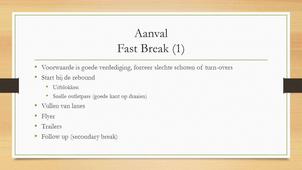 Aanval Fast Break (1) Voorwaarde is goede verdediging, forceer slechte schoten of turn-overs. Start bij de rebound.