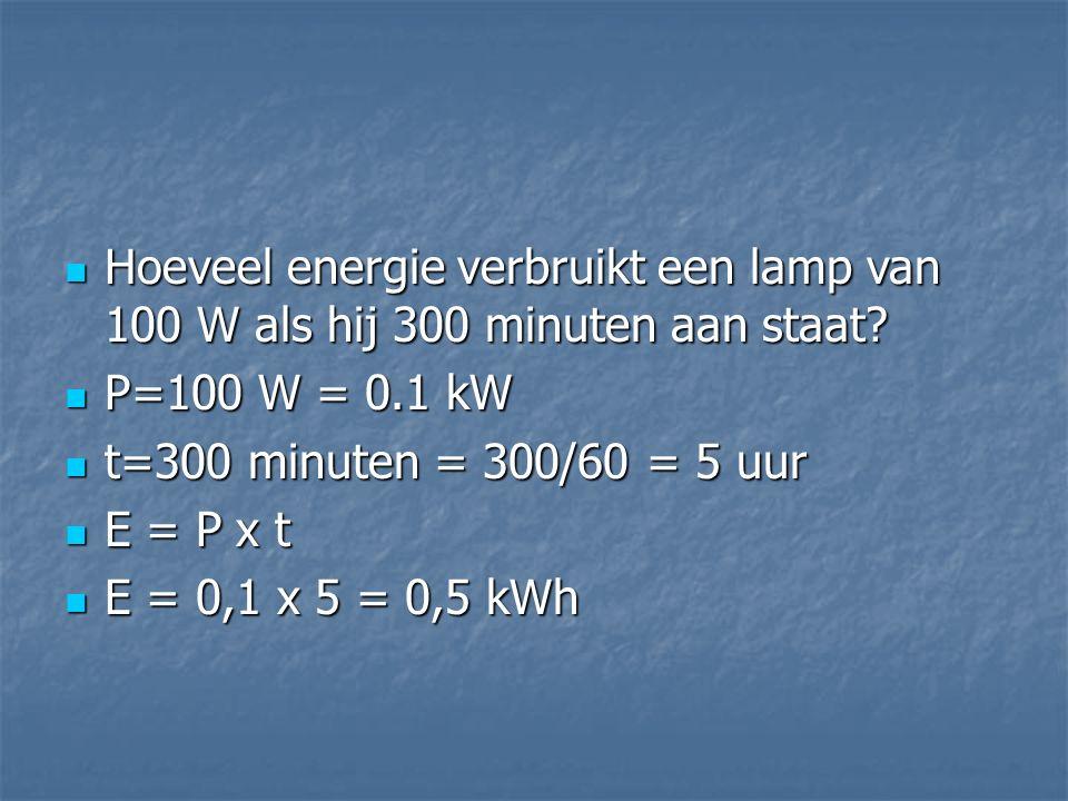 Hoeveel energie verbruikt een lamp van 100 W als hij 300 minuten aan staat
