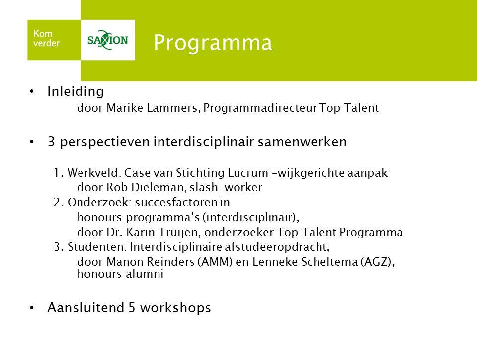 Programma Inleiding 3 perspectieven interdisciplinair samenwerken