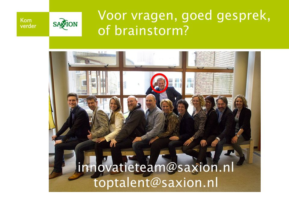 toptalent@saxion.nl innovatieteam@saxion.nl