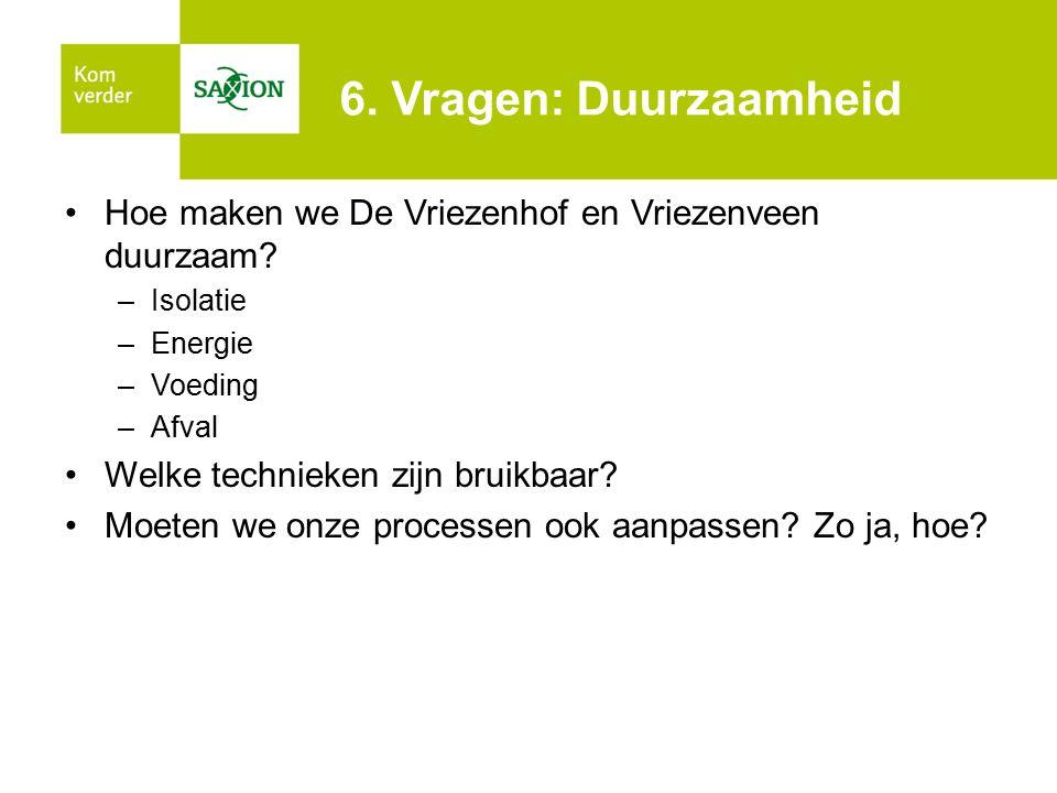 6. Vragen: Duurzaamheid Hoe maken we De Vriezenhof en Vriezenveen duurzaam Isolatie. Energie. Voeding.
