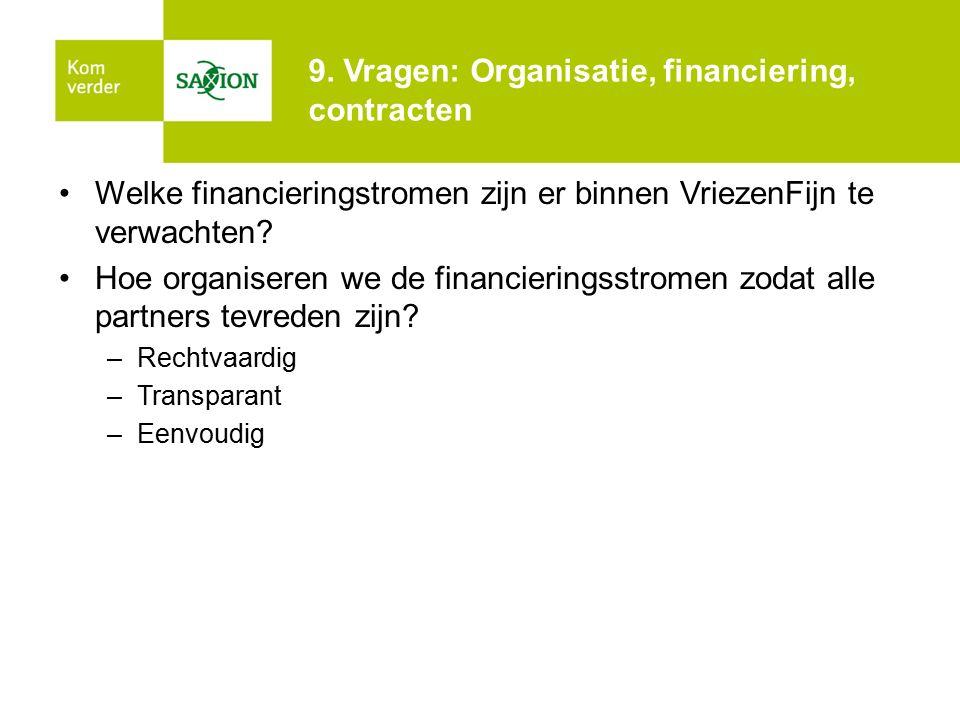 9. Vragen: Organisatie, financiering, contracten