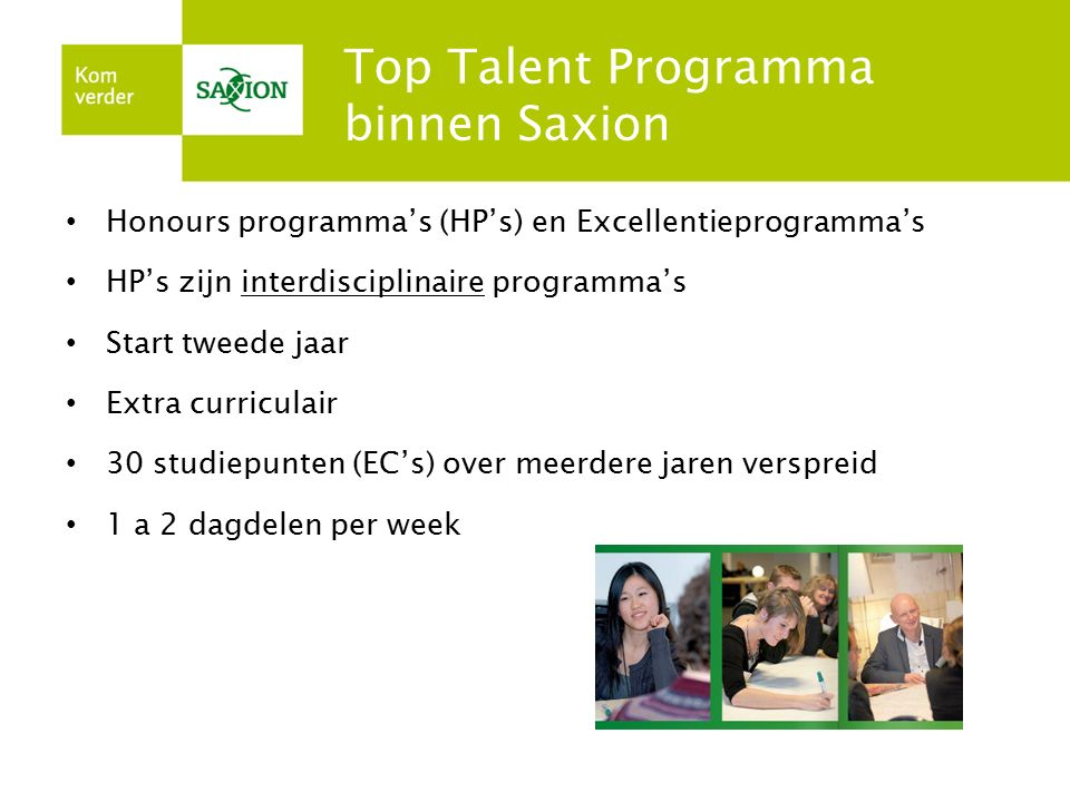 Top Talent Programma binnen Saxion