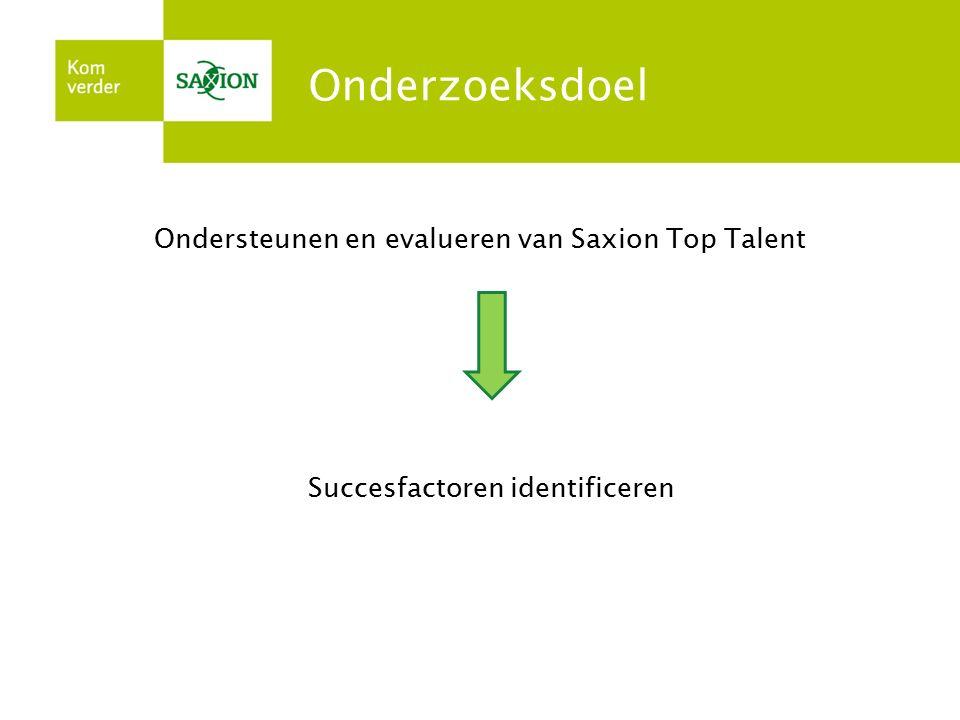 Onderzoeksdoel Ondersteunen en evalueren van Saxion Top Talent