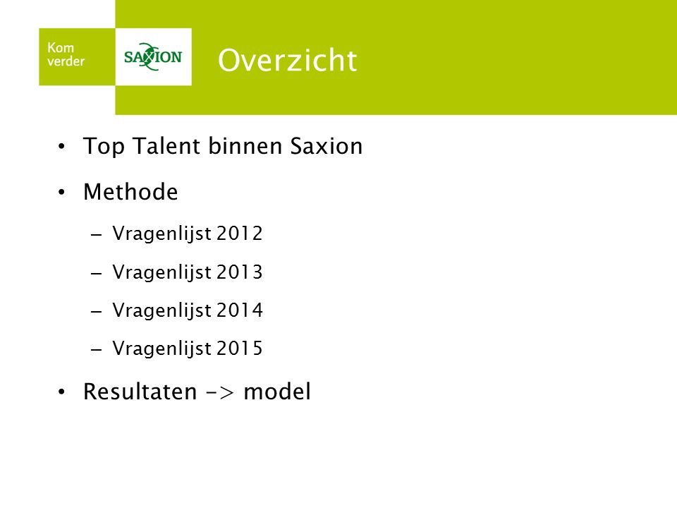 Overzicht Top Talent binnen Saxion Methode Resultaten -> model