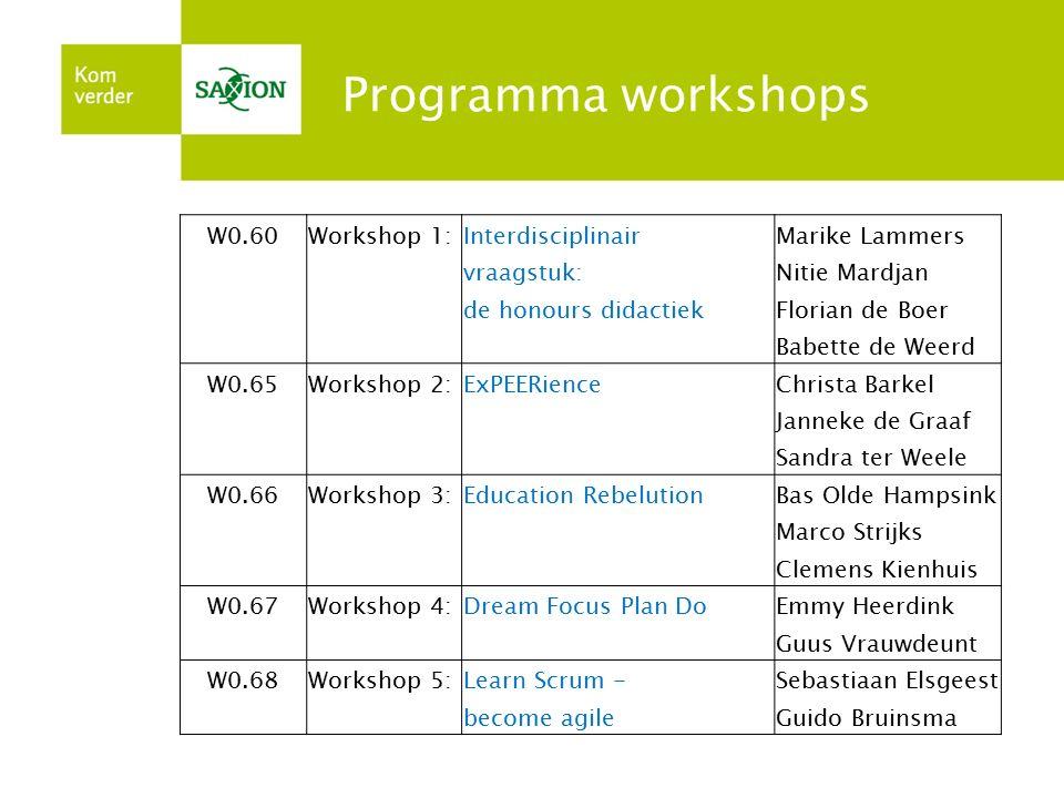 Programma workshops W0.60 Workshop 1: Interdisciplinair Marike Lammers