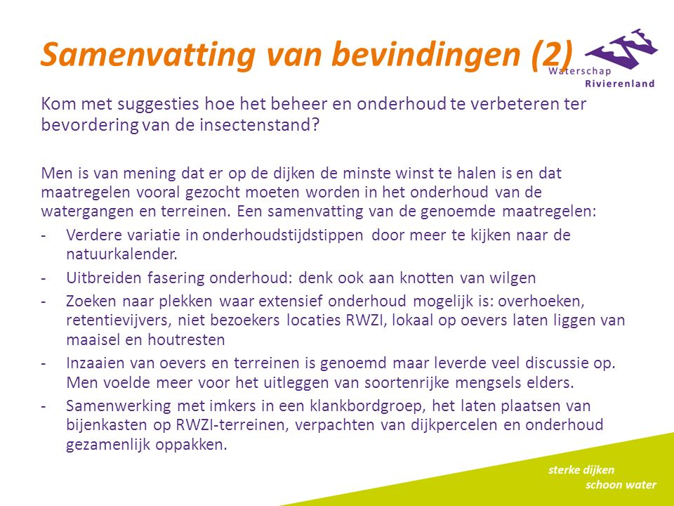 Samenvatting van bevindingen (2)
