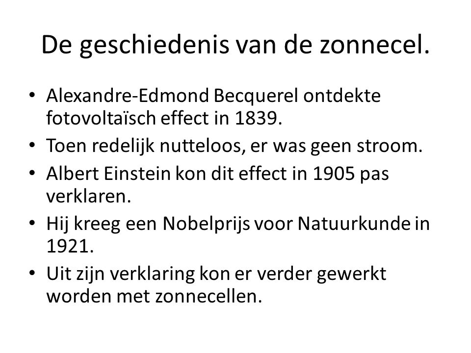 De geschiedenis van de zonnecel.