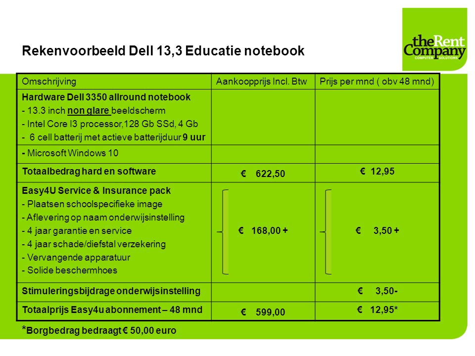 Rekenvoorbeeld Dell 13,3 Educatie notebook