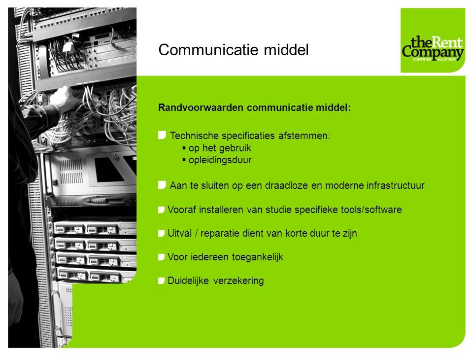 Communicatie middel Technische specificaties afstemmen: