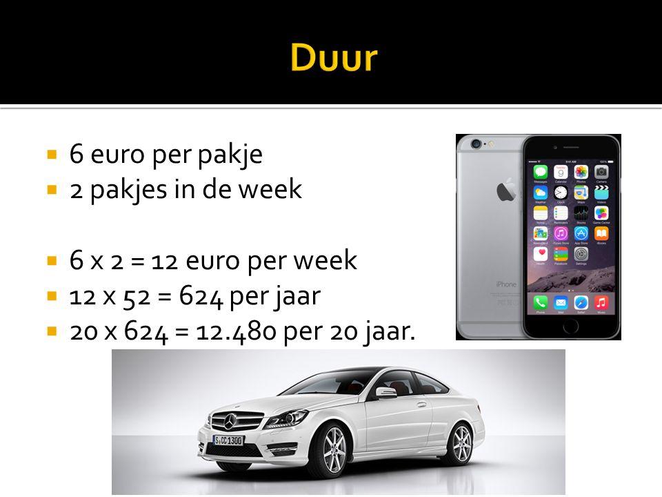 Duur 6 euro per pakje 2 pakjes in de week 6 x 2 = 12 euro per week