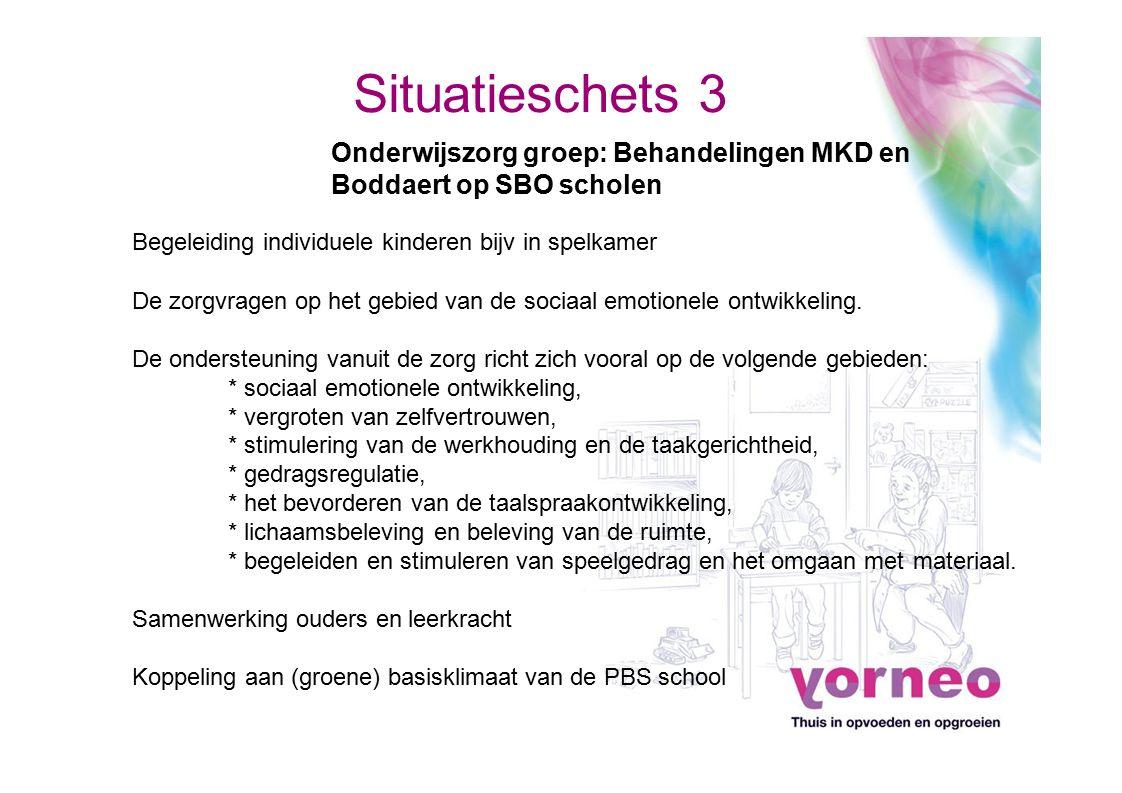 Situatieschets 3 Onderwijszorg groep: Behandelingen MKD en Boddaert op SBO scholen. Begeleiding individuele kinderen bijv in spelkamer.