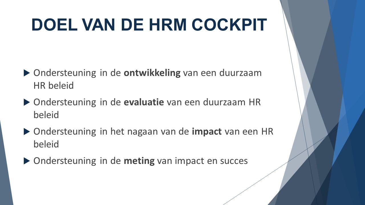 DOEL VAN DE HRM COCKPIT Ondersteuning in de ontwikkeling van een duurzaam HR beleid. Ondersteuning in de evaluatie van een duurzaam HR beleid.