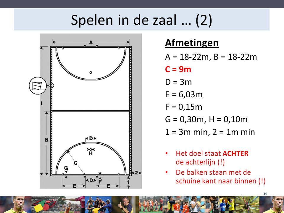 Spelen in de zaal … (2) Afmetingen A = 18-22m, B = 18-22m C = 9m
