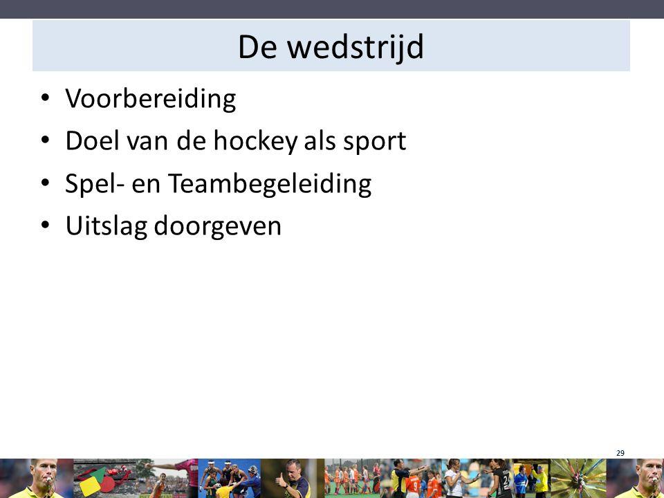 De wedstrijd Voorbereiding Doel van de hockey als sport