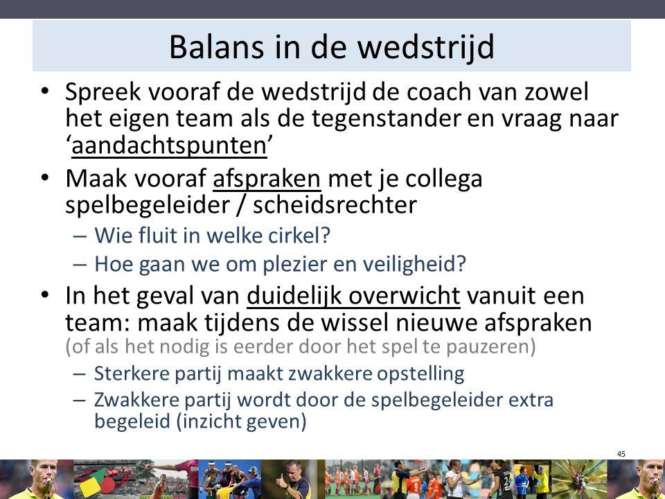 Balans in de wedstrijd Spreek vooraf de wedstrijd de coach van zowel het eigen team als de tegenstander en vraag naar 'aandachtspunten'