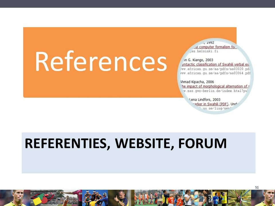 Referenties, website, forum