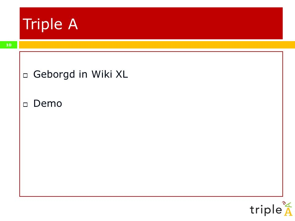 Triple A Geborgd in Wiki XL Demo