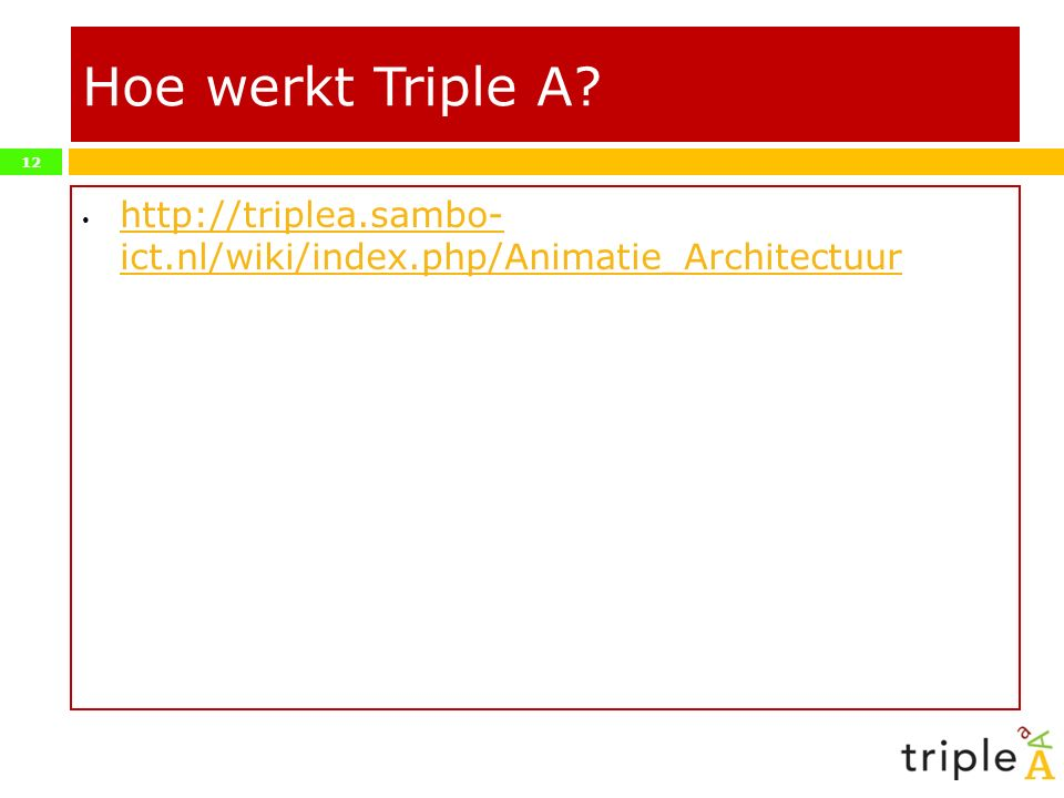Hoe werkt Triple A http://triplea.sambo- ict.nl/wiki/index.php/Animatie_Architectuur