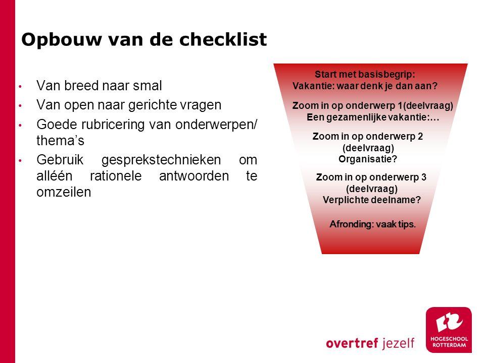Opbouw van de checklist