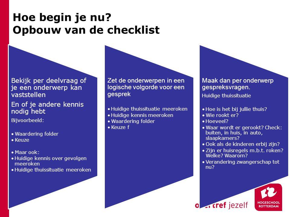 Hoe begin je nu Opbouw van de checklist