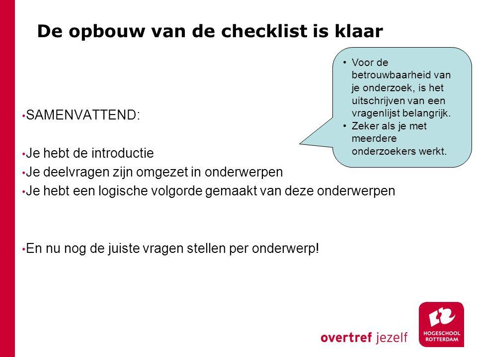 De opbouw van de checklist is klaar