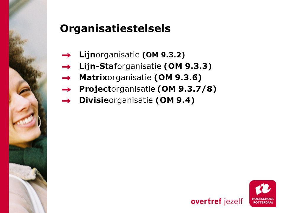 Organisatiestelsels Lijnorganisatie (OM 9.3.2)