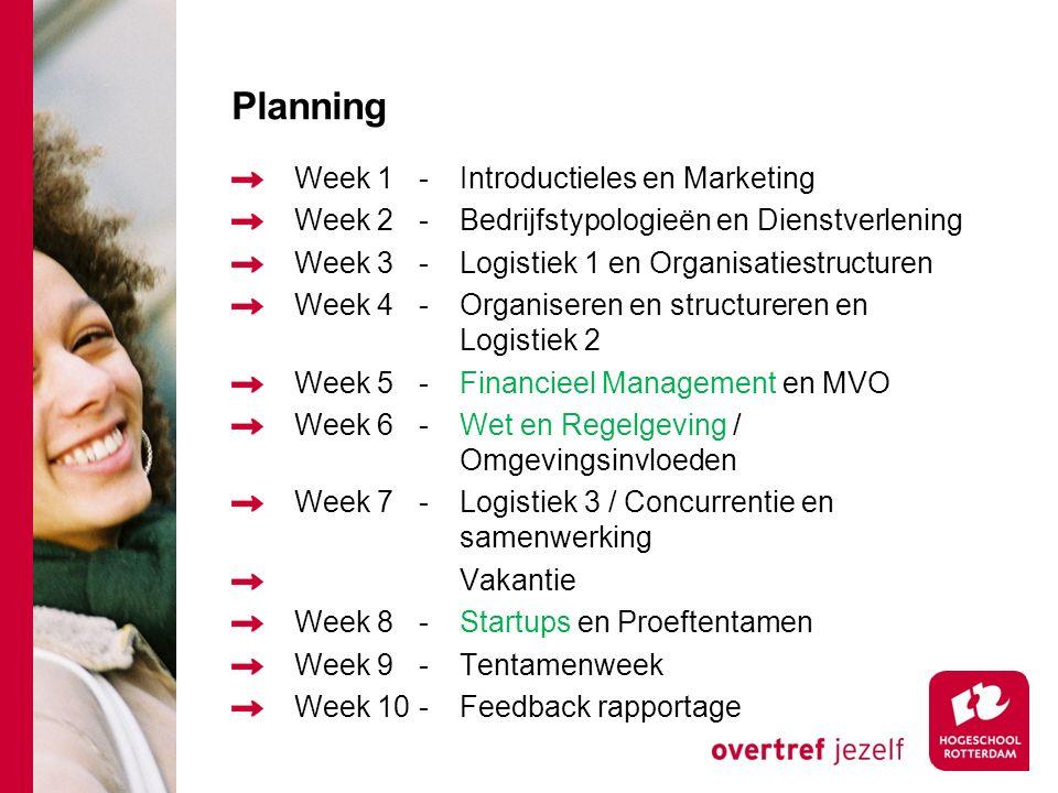 Planning Week 1 - Introductieles en Marketing
