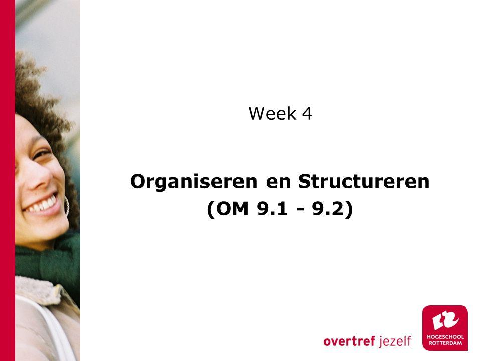 Organiseren en Structureren (OM 9.1 - 9.2)
