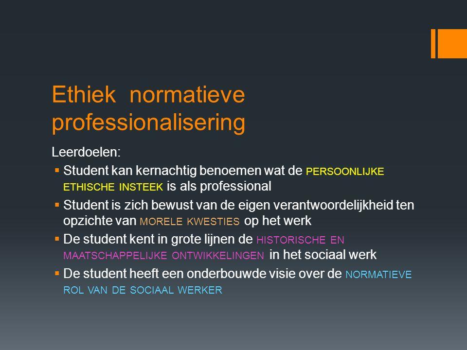 Ethiek normatieve professionalisering
