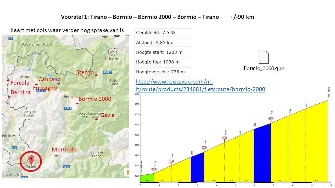 Voorstel 1: Tirano – Bormio – Bormio 2000 – Bormio – Tirano +/-90 km