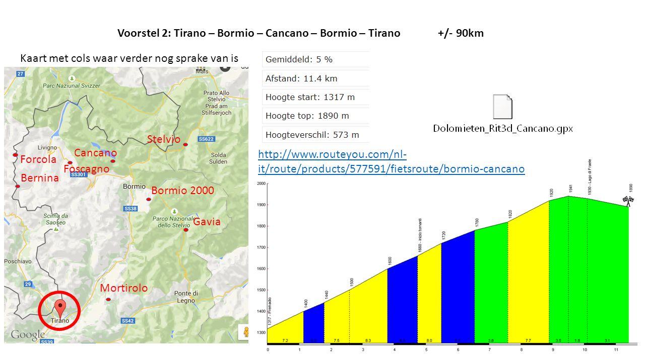 Voorstel 2: Tirano – Bormio – Cancano – Bormio – Tirano +/- 90km
