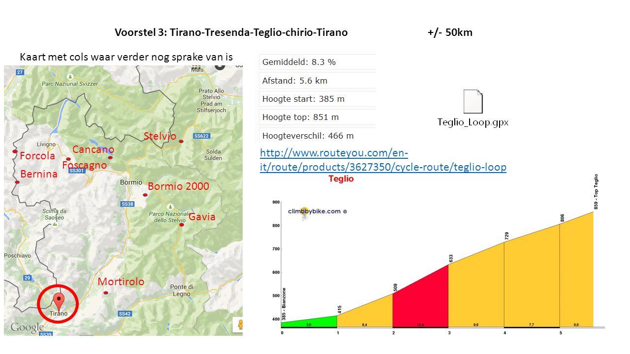 Voorstel 3: Tirano-Tresenda-Teglio-chirio-Tirano +/- 50km
