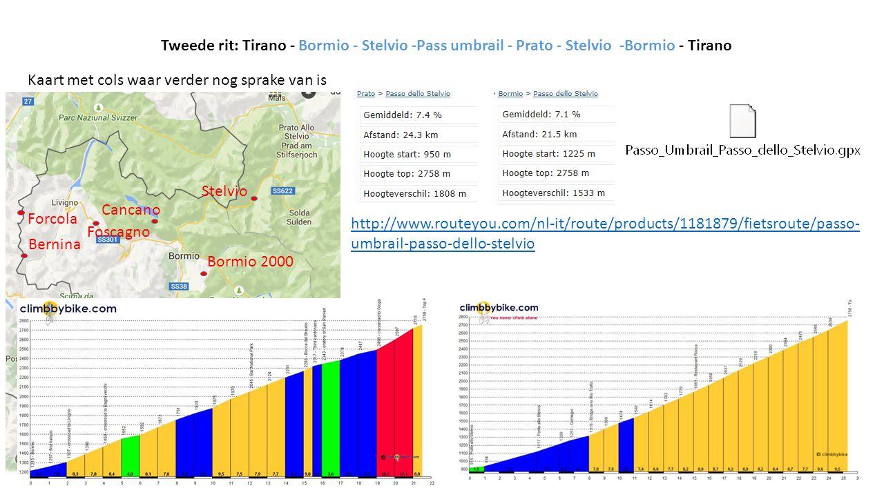 Tweede rit: Tirano - Bormio - Stelvio -Pass umbrail - Prato - Stelvio -Bormio - Tirano