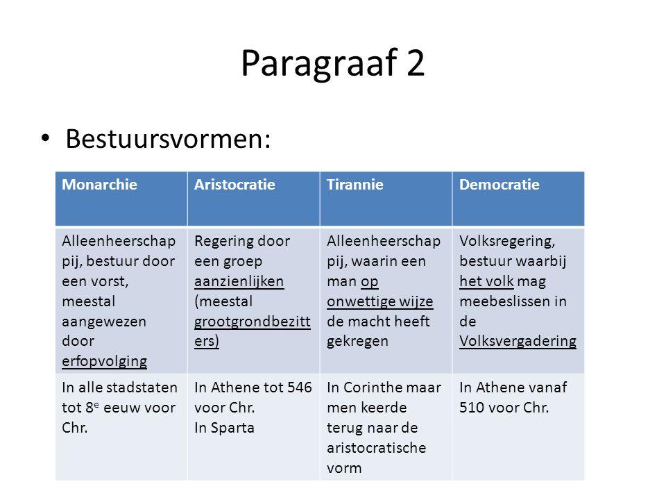 Paragraaf 2 Bestuursvormen: Monarchie Aristocratie Tirannie Democratie
