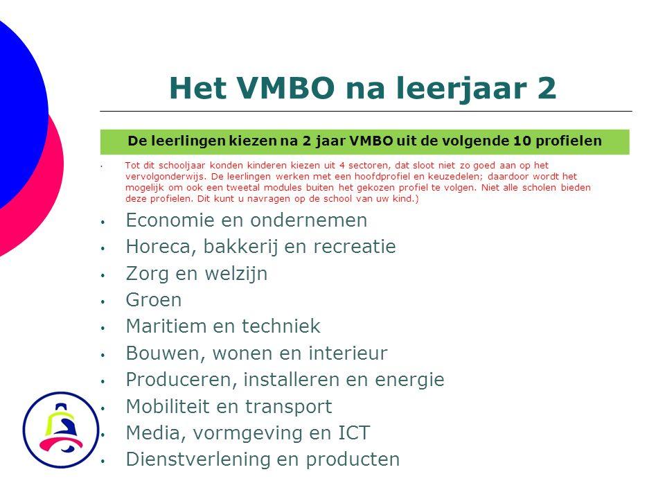 De leerlingen kiezen na 2 jaar VMBO uit de volgende 10 profielen