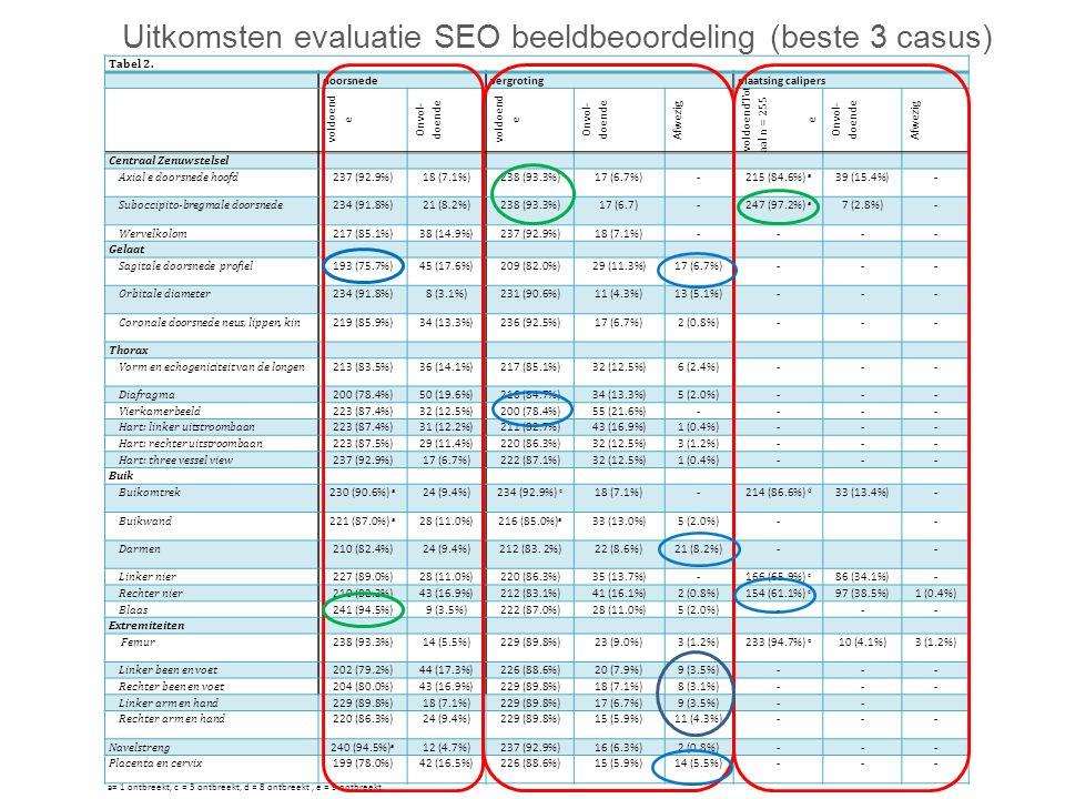 Uitkomsten evaluatie SEO beeldbeoordeling (beste 3 casus)