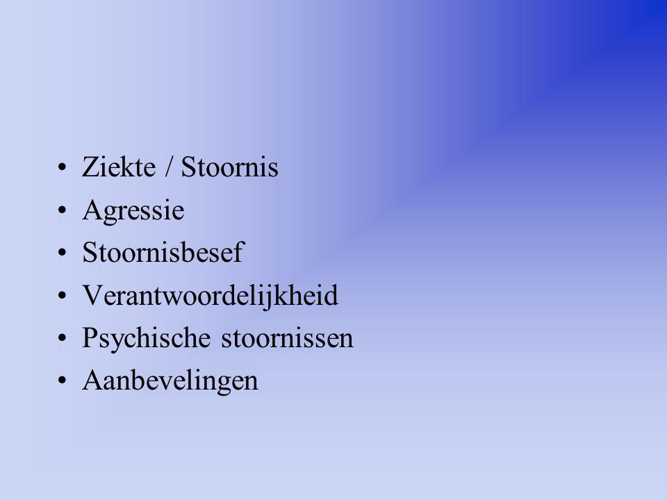 Ziekte / Stoornis Agressie Stoornisbesef Verantwoordelijkheid Psychische stoornissen Aanbevelingen