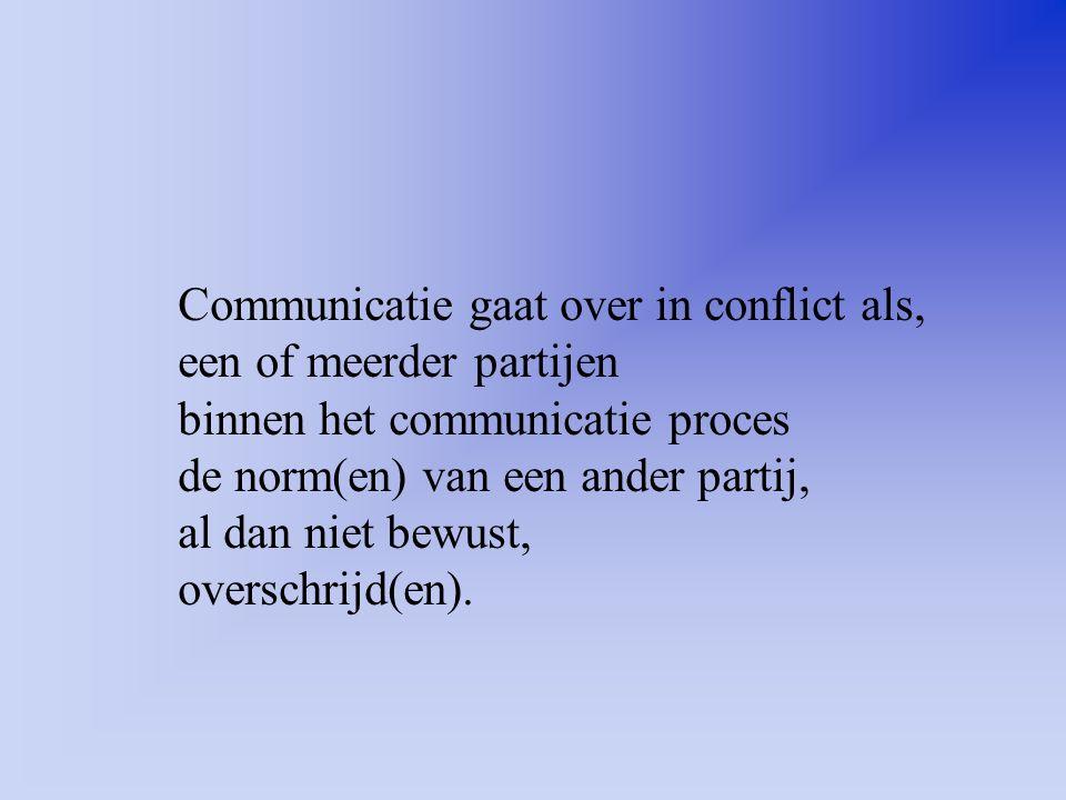 Communicatie gaat over in conflict als,